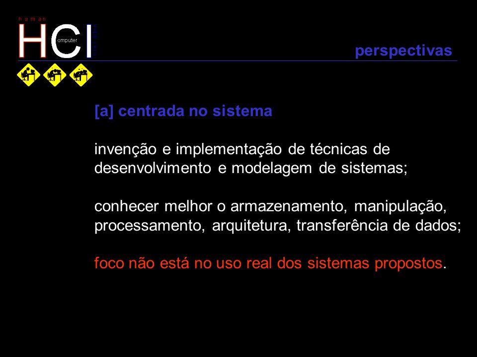 perspectivas [a] centrada no sistema. invenção e implementação de técnicas de. desenvolvimento e modelagem de sistemas;